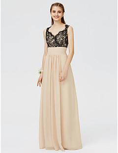 cheap Going Neutral-Sheath / Column Straps Floor Length Chiffon Floral Lace Bridesmaid Dress with Appliques Sash / Ribbon Pleats by LAN TING BRIDE®