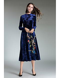 tanie SS 18 Trends-Damskie Shift Pochwa Sukienka - Jendolity kolor, Nadruk Golf Maxi