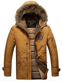 Herren Gefüttert Mantel Einfach Lässig/Alltäglich Solide-Baumwolle Langarm