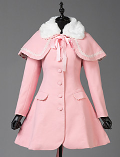 Geacă Steampunk® Haine Stil Vintage Englezesc Cosplay Rochii Lolita Roz Culoare solidă Manșon Lung Geacă Pentru Lână De Lână
