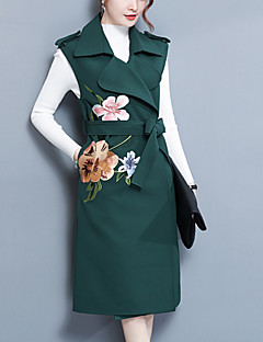 Women's Going out Work Simple Fall Winter Trench Coat,Floral Print Shirt Collar Sleeveless Regular Polyester Embroidered