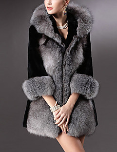 cheap -Women's Daily Simple Casual Winter Fur Coat,Solid V Neck ¾ Sleeve Regular Faux Fur