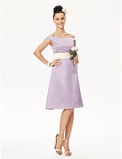 cheap Short Bridesmaid Dresses-A-Line Princess Off-the-shoulder Knee Length Satin Bridesmaid Dress with Sash / Ribbon Pleats by LAN TING BRIDE®