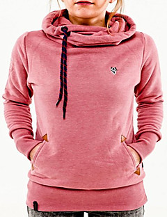 Women's Going out Casual/Daily Hoodie Solid Hooded Inelastic Cotton Long Sleeves Fall Winter