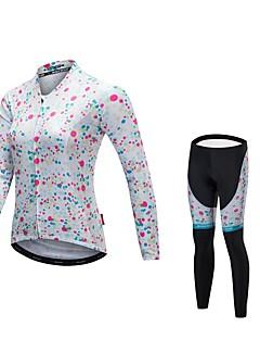 billige Sykkelklær-Malciklo Dame Langermet Sykkeljersey med tights - Hvit Sykkel Klessett, Fort Tørring, Anatomisk design, Refleksbånd Lycra