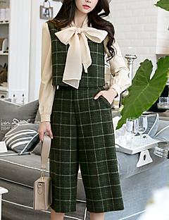 Χαμηλού Κόστους Women's Tops & Sets-Γυναικεία Λαιμόκοψη V Εξόδου Βίντατζ / Κομψό στυλ street Αμάνικη Μπλούζα - Πλέγμα / Patterns Plaid Ψηλή Μέση Παντελόνι / Φθινόπωρο