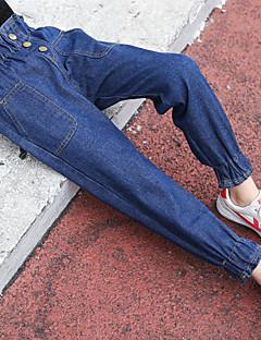 billige Bukser og leggings til piger-Pige Bukser Ensfarvet, Bomuld Vinter Aktiv Blå
