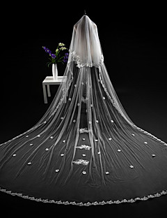 cheap Wedding Veils-Two-tier Cut Edge Modern Wedding Veil Cathedral Veils Headpiece 53 Appliques Lace Tulle