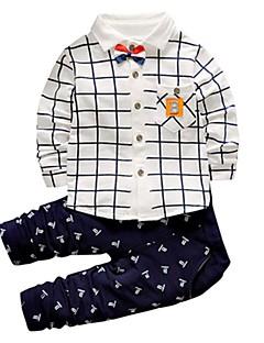 billige Tøjsæt til drenge-Drenge Tøjsæt Ternet, Bomuld Akryl Alle årstider Langærmet Sødt Afslappet Aktiv Grøn Marineblå