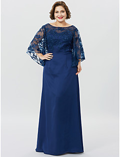 cheap Mother of the Bride Dresses-Sheath / Column Bateau Neck Floor Length Chiffon Sheer Lace Mother of the Bride Dress with Appliques by LAN TING BRIDE®