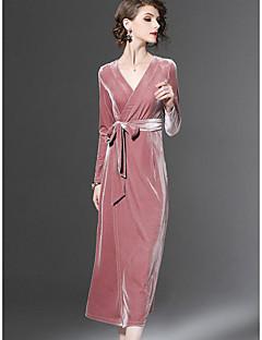 baratos Vestidos de Festa-Mulheres Festa / Para Noite Bainha Vestido Sólido Decote V Longo