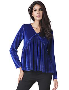 Feminino Camiseta Festa Casual Vintage Moda de Rua Primavera/Outono Primavera/Outono/Inverno/Verão,Sólido Vintage Ecológico Poliéster
