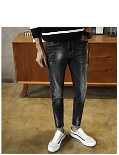 Herre Enkel Mikroelastisk Skinny Jeans Bukser,Skinny Jeans Mellomhøyt liv Ensfarget