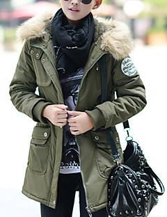 Damen Gefüttert Mantel,Lang Einfach Street Schick Lässig/Alltäglich Übergröße Solide-Polyester Polyester Langarm