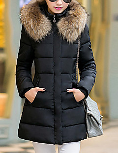 Damen Gefüttert Mantel,Lang Retro Einfach Niedlich Ausgehen Lässig/Alltäglich Übergröße Solide-Baumwolle Polyester Baumwolle Polypropylen