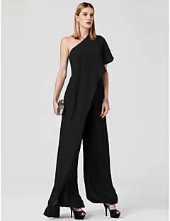 billiga Aftonklänningar-Jumpsuit Enaxlad Golvlång Chiffong Bröllopsfest / Helgdag Klänning med Draperad av TS Couture®