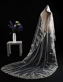 cheap Wedding Veils-Two-tier Cut Edge Lace Applique Edge Sequins Modern Wedding Veil Cathedral Veils Headpiece 53 Appliques Paillette Lace Tulle Sequined