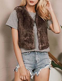Χαμηλού Κόστους Γούνινο παλτό-Γυναικεία Μεγάλα Μεγέθη Γούνινο παλτό Μονόχρωμο Ψεύτικη Γούνα