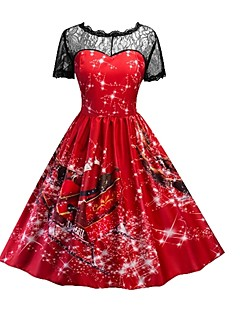 billige julen Kostymer-Dame Julkjole Cosplay Rød Kortermet Halloween-kostymer