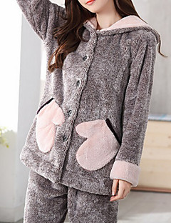 Women's Suits Pajamas,Solid Color Cotton Polyester Dark Gray
