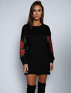 Dames Uitgaan Casual/Dagelijks Sweatshirt Gestreept Ronde hals Micro-elastisch Katoen Acryl Lange mouw Alle seizoenen