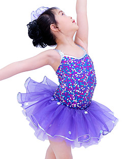 Kids' Dancewear Dresses Children's Performance Spandex Elastic Organza Sequined Paillette Sleeveless Natural Dresses Headpieces