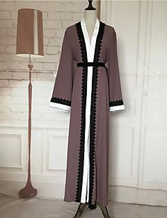 Χαμηλού Κόστους Καφτάνι-Γυναικεία Flare μανίκι Καφτάνι Φόρεμα - Συνδυασμός Χρωμάτων / Patchwork / Ραμμένη Δαντέλα, Δαντέλα Μακρύ Ψηλή Μέση