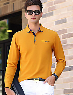 Men's Daily Vintage Polo,Solid Shirt Collar Long Sleeves Cotton
