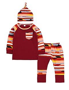billige Sett med babyklær-Baby Pige Tøjsæt Afslappet/Hverdag Dagligdagstøj Regnbue, Bomuld Vinter Forår/Vinter Langærmet Moderne Stil Stribet Vin