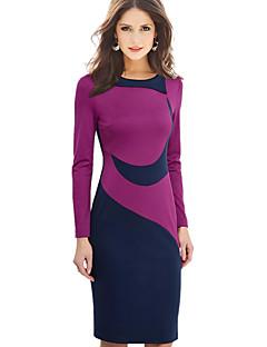 Naisten Vartalonmyötäinen Mekko Yksinkertainen Puku- / Plus-koko,Color Block Pyöreä kaula-aukko Polvipituinen PitkähihainenPunainen /
