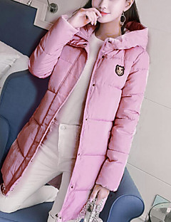 Women's Padded Coat,Simple Casual/Daily Solid Print-Polyester Polypropylene Long Sleeves