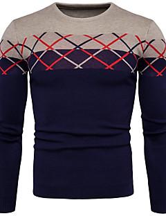 tanie Męskie swetry i swetry rozpinane-Męskie Rozmiar plus Okrągły dekolt Pulower Wielokolorowa