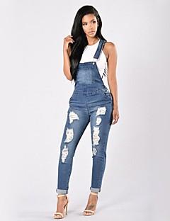 billige AW 18 Trends-Dame Gatemote Skinny Jeans / Kjeledress Bukser - Ensfarget dratt Blå