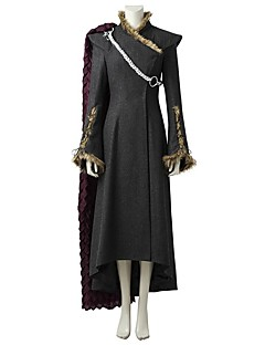 Game of Thrones Dragon Mother Queen Daenerys Targaryen Costume Movie Cosplay Gray & Black Dress Cloak More Accessories Halloween Carnival