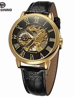 FORSINING Herrn Modeuhr Kleideruhr Armbanduhr Automatikaufzug Transparentes Ziffernblatt Leder Band Luxus Retro Freizeit Schwarz Braun
