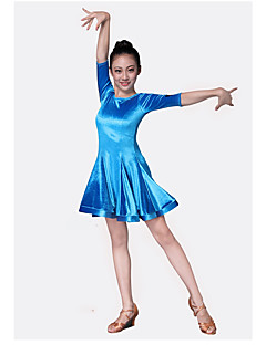 levne Dětské taneční kostýmy-Dětské taneční kostýmy Šaty Výkon Velvet šifon Volány Poloviční rukáv Přírodní Šaty