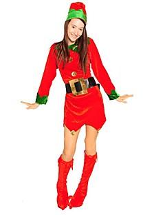 billige julen Kostymer-Alv Bukser Julkjole Dame Jul Festival / høytid Halloween-kostymer Rød Fargeblokk