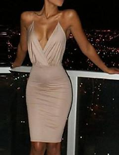 Damen Bodycon Kleid-Ausgehen Street Schick Solide Gurt Übers Knie Ärmellos Polyester Sommer Mittlere Hüfthöhe Mikro-elastisch Dünn