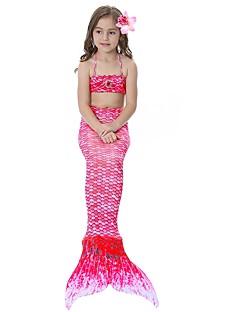 billige Halloweenkostymer-The Little Mermaid Skjørt Barne Halloween Halloween Festival / høytid Halloween-kostymer Drakter Rosa / Gylden / Fuksia Havfrue