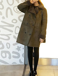 baratos -Feminino Casaco Casual Simples Inverno Outono,Sólido Padrão Pêlo de Cordeiro Decote V Manga Comprida