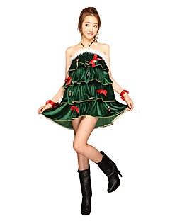 billige julen Kostymer-Julkjole Dame Jul Festival / høytid Halloween-kostymer Mørkegrønn Jul Jul