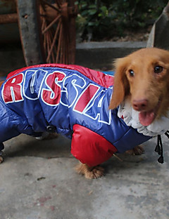 billiga Hundkläder-Katt Hund Kappor Huvtröjor Jumpsuits Regnjacka Hundkläder Tryck Bokstav & Nummer Blå Polyster Vattentätt Material Kostym För husdjur