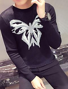 tanie Męskie swetry i swetry rozpinane-Męskie Okrągły dekolt Pulower - Nadruk, Jendolity kolor Długi rękaw