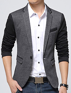 cheap Men's Clothing-Men's Daily / Work Fall / Winter Plus Size Regular Blazer, Color Block V Neck Long Sleeve Cotton / Acrylic / Polyester Dark Gray / Gray XXXL / XXXXL / XXXXXL