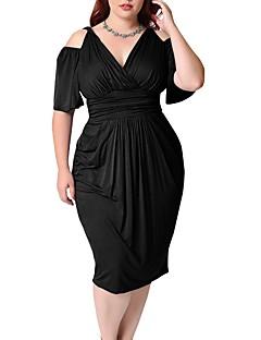 billige Plusstørrelser til kvinder på udsalg-Dame Plusstørrelser I-byen-tøj Gade Skede Kjole - Ensfarvet Midi V-hals Sort / Forår / Sommer / Tynd / Udskæring
