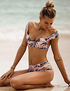 preiswerte -Damen Druck Halter Bikinis Bademode Boho Polyester,Rosa