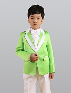 Verde Poliéster Terno de Pajem - 6 Inclui Blazer Calças Colete Faixa Larga Gravata Borboleta Camisa