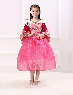 billige Halloweenkostymer-Prinsesse Eventyr Aurora Kjoler Party-kostyme Barne Jul Maskerade Bursdag Festival / høytid Halloween-kostymer Rød Ensfarget Fargeblokk