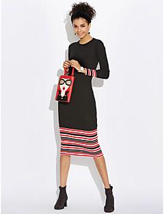 ieftine Modă Damă & Îmbrăcăminte-Pentru femei Bumbac Subțire Bodycon Rochie Dungi Midi