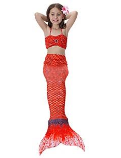 billige Halloweenkostymer-The Little Mermaid Skjørt Halloween Festival / høytid Halloween-kostymer Rosa / Gylden / Fuksia Havfrue Halloween